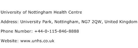 University of Nottingham Health Centre Address Contact Number
