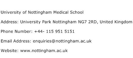 University of Nottingham Medical School Address Contact Number