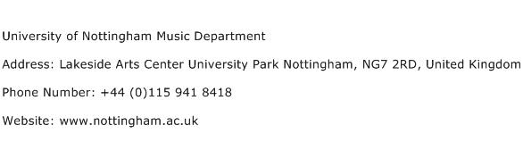 University of Nottingham Music Department Address Contact Number