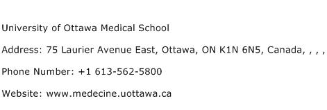 University of Ottawa Medical School Address Contact Number