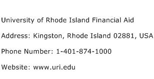 University of Rhode Island Financial Aid Address Contact Number