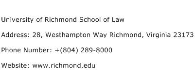 University of Richmond School of Law Address Contact Number
