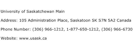 University of Saskatchewan Main Address Contact Number
