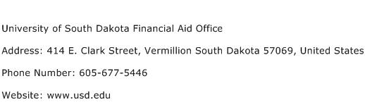 University of South Dakota Financial Aid Office Address Contact Number