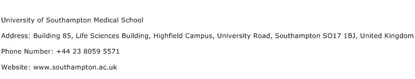 University of Southampton Medical School Address Contact Number