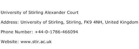 University of Stirling Alexander Court Address Contact Number