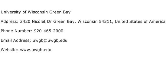 University of Wisconsin Green Bay Address Contact Number