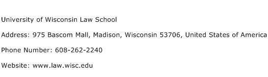 University of Wisconsin Law School Address Contact Number