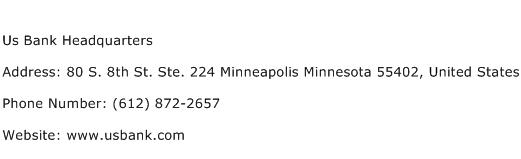 Us Bank Headquarters Address Contact Number