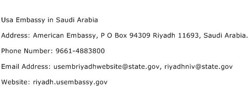 Usa Embassy in Saudi Arabia Address Contact Number