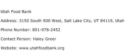 Utah Food Bank Address Contact Number