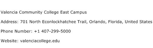 Valencia Community College East Campus Address Contact Number