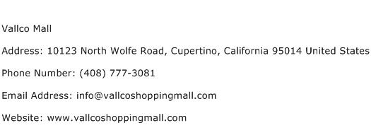 Vallco Mall Address Contact Number