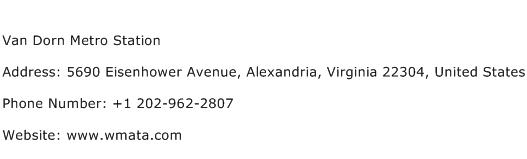 Van Dorn Metro Station Address Contact Number