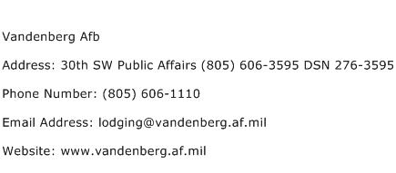 Vandenberg Afb Address Contact Number