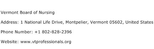 Vermont Board of Nursing Address Contact Number