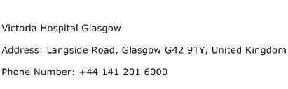 Victoria Hospital Glasgow Address Contact Number