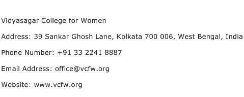 Vidyasagar College for Women Address Contact Number