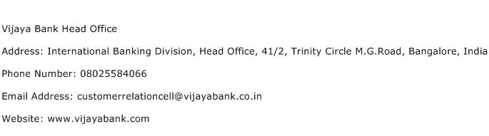 Vijaya Bank Head Office Address Contact Number