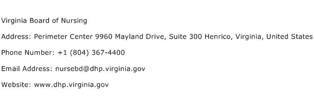 Virginia Board of Nursing Address Contact Number