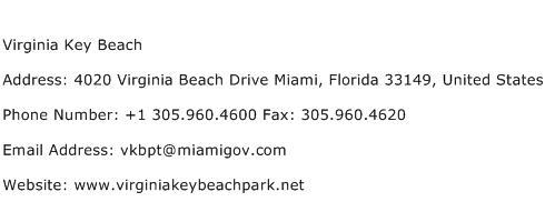 Virginia Key Beach Address Contact Number