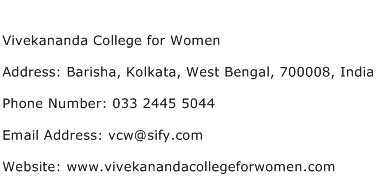 Vivekananda College for Women Address Contact Number