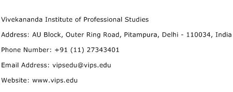 Vivekananda Institute of Professional Studies Address Contact Number