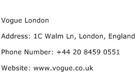 Vogue London Address Contact Number