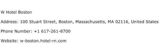 W Hotel Boston Address Contact Number