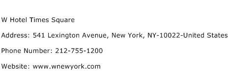 W Hotel Times Square Address Contact Number