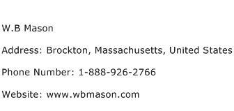 W.B Mason Address Contact Number