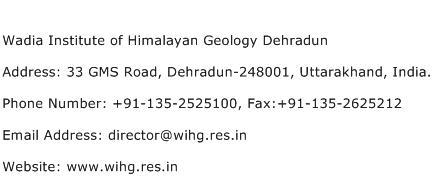 Wadia Institute of Himalayan Geology Dehradun Address Contact Number