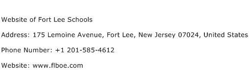Website of Fort Lee Schools Address Contact Number