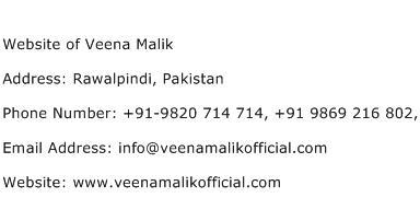 Website of Veena Malik Address Contact Number