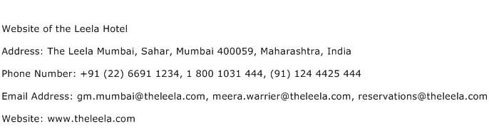 Website of the Leela Hotel Address Contact Number