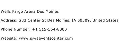 Wells Fargo Arena Des Moines Address Contact Number