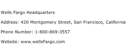 Wells Fargo Headquarters Address Contact Number