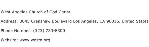 West Angeles Church of God Christ Address Contact Number