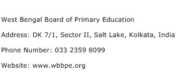 West Bengal Board of Primary Education Address Contact Number