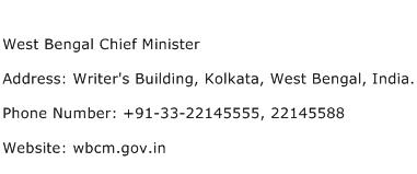West Bengal Chief Minister Address Contact Number
