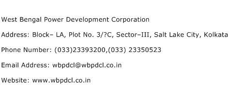 West Bengal Power Development Corporation Address Contact Number