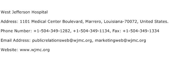 West Jefferson Hospital Address Contact Number