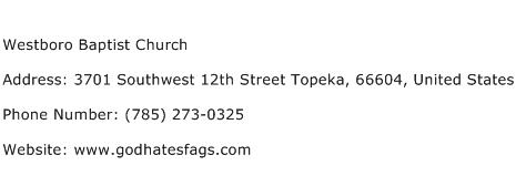 Westboro Baptist Church Address Contact Number