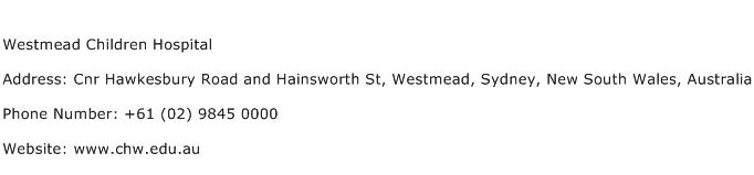 Westmead Children Hospital Address Contact Number