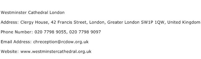 Westminster Cathedral London Address Contact Number