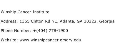 Winship Cancer Institute Address Contact Number