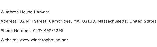 Winthrop House Harvard Address Contact Number