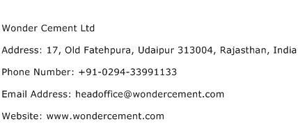 Wonder Cement Ltd Address Contact Number