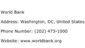 World Bank Address Contact Number