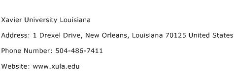 Xavier University Louisiana Address Contact Number